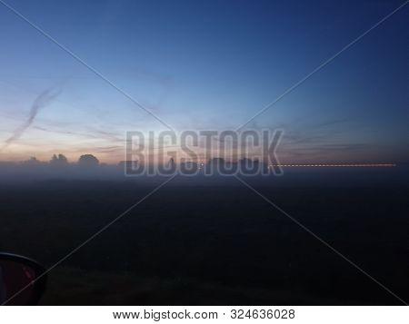 Fog Over The Meadows During Sunrise In The Zuidplaspolder In Zevenhuizen The Netherlands