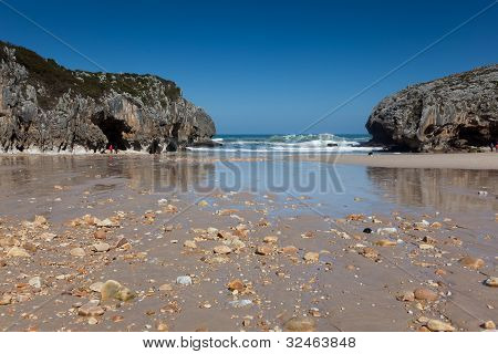 Beach Of Caves Of The Sea