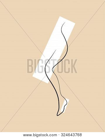 Continuous Line Drawing Of Naked Women Legs In High Heels. One Line Drawing Abstract Feet With Shoes