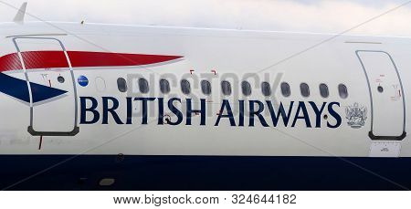 Bucharest, Romania - July 15, 2019: The British Airways G-EUXG Airbus A321 (MSN 2351) aircraft is parked in the VIP reception area of Henri Coanda Airport in Otopeni, 20 km. north of Bucharest.
