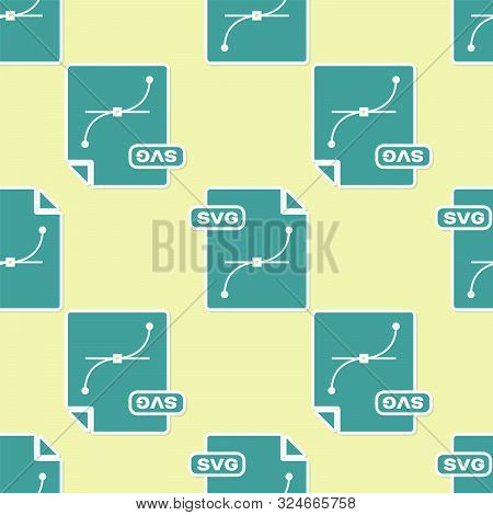 Green Svg File Document. Download Svg Button Icon Isolated Seamless Pattern On Yellow Background. Sv