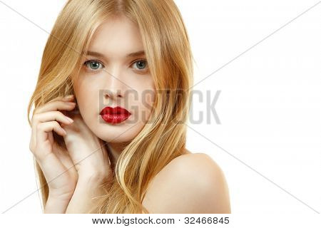 Beautiful woman face closeup with long blond hair and vivid red lipstick. Isolated on white background