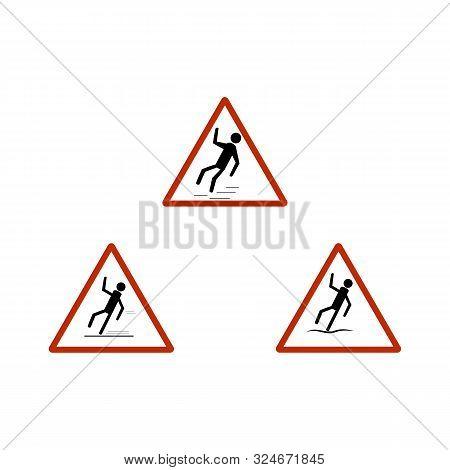 Slippery Sidewalk Set. Sign Danger On Ice Roadand Wet Sidewalk. Warning Of Danger During Rain And Sl