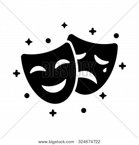 Comedy And Tragedy Masks. Black Icon Funny And Sad Mask, Cartoon Style. Happy And Unhappy Traditiona