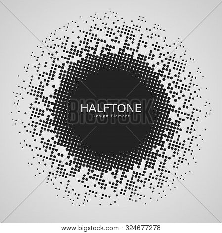 Halftone Element Isolated On White Background. Circular Halftone Pattern. Radial Gradient. Vector Il