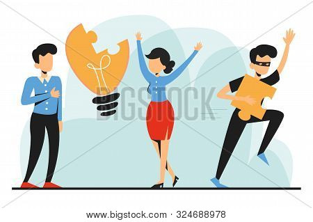 Plagiarism, Man Steal Idea And Run Away Vector Isolated