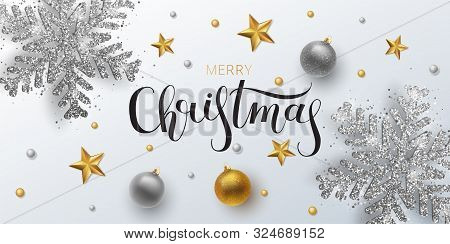 Christmas Greeting Card, Web Banner, Vector Background. Gold And Silver Christmas Ball And Stars, Wi