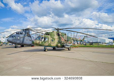 Zhukovsky, Russia - July 20, 2017: Two Russian Mi-26 And Mi-8mt Helicopters On Maks-2017 Air Show