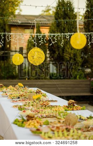 Modern Outdoor Buffet Dinner, Appetizers, Party Light Balls And String Lights, Trees On The Backgrou