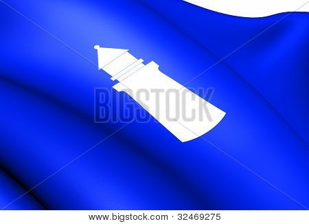 Flag of Lindesnes Norway. Close Up. Front View. poster