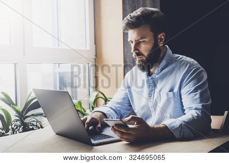 Creative Worker Using Digital Devices And Programs In Project. Corporate Executive Sitting At Office