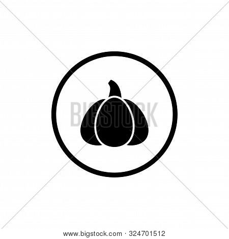 Pumpkin Icon With Stem. Black Gourd Label. Halloween Sticker Isolated On Hite.