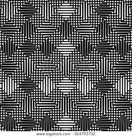 Grid Pattern, Mesh Background Of Wavy, Waving Distortion, Deformation On Crossing Lines. Jumble, Cro