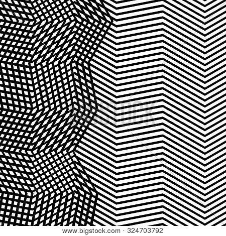 Intersected, Interweaved Irregular Lines, Stripes Green Grid Pattern. Interlocking, Weaved Curvy And