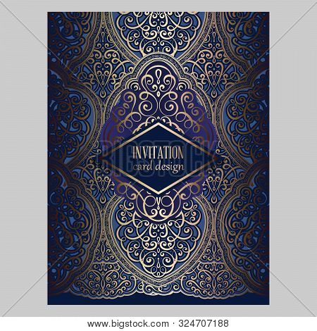Wedding Invitation Card With Gold And Blue Shiny Eastern And Baroque Rich Foliage. Ornate Brocade Ba