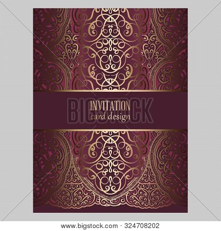 Wedding Invitation Card With Gold And Velvet Red Shiny Eastern And Baroque Rich Foliage. Ornate Broc