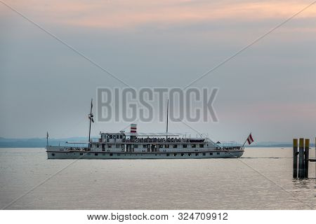 Ferryboat With Passengers On The Big Lake