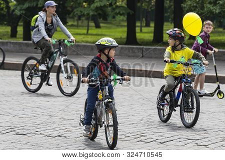 Kharkiv, Ukraine - 20 May , 2018: Annual Spring City Cycling Holiday And Cycling Through The Streets
