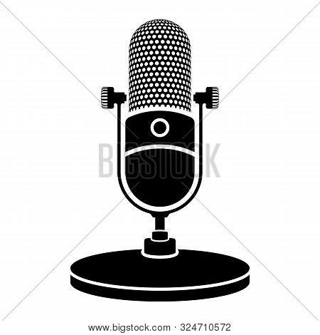 Microphone Icon. Retro, Vintage Microphone Icon. Vector Illustration.