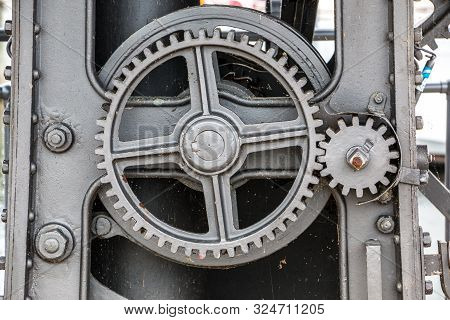 Old Machine With Toothed Gears Made Of Steel