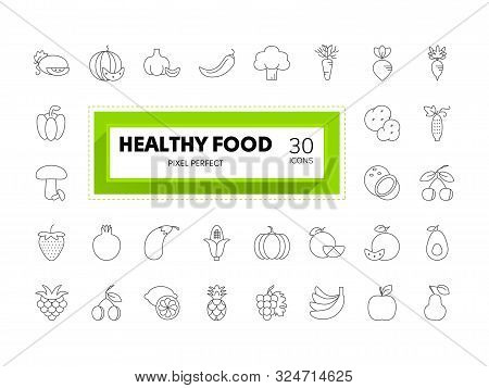 Web And Graphic Design Icons. Set Of 30 Food Collection Editable Stroke. Pixel Perfect.