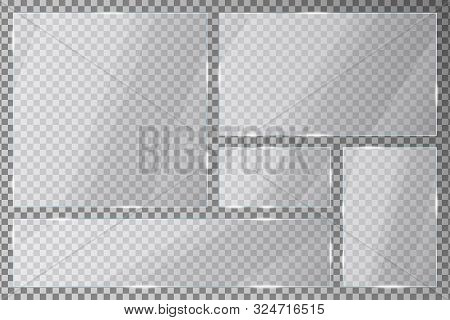Glass Plates Set On Transparent Background. Acrylic Or Plexiglass Plates With Gleams And Light Refle