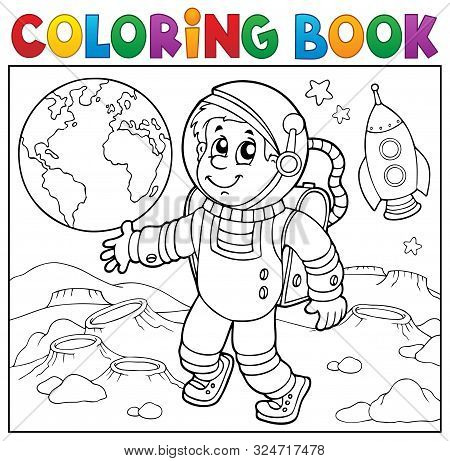 Coloring Book Astronaut Theme 2 - Eps10 Vector Picture Illustration.
