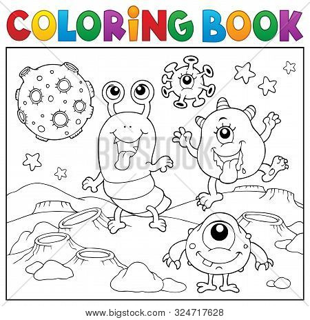Coloring Book Monsters In Space Theme 2 - Eps10 Vector Picture Illustration.