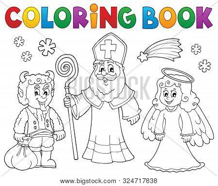Coloring Book Saint Nicholas Day Theme 2 - Eps10 Vector Picture Illustration.