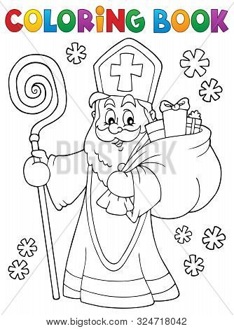 Coloring Book Saint Nicholas Topic 2 - Eps10 Vector Picture Illustration.