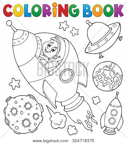 Coloring Book Space Topic Collection 1 - Eps10 Vector Picture Illustration.