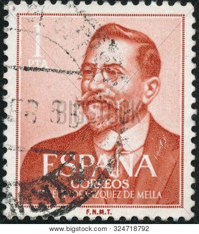 Poltava, Ukraine - September 25, 2019. Vintage Stamp Printed In In Spain 1961 Shows The 100th Annive