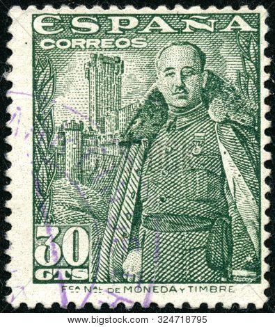 Vintage Stamp Printed In Spain 1954 Shows General Franco