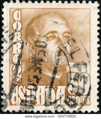 Vintage Stamp Printed In Spain 1948 Shows General Franco