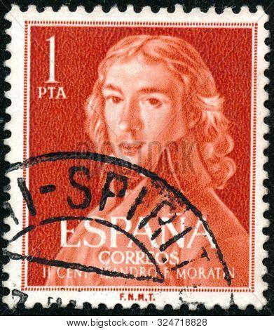 Vintage Stamp Printed In Spain 1961 Shows T Leandro Frenandez De Moratin, 1760-1828
