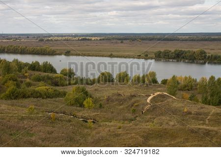 Autumn Panoramic Landscape With River And Hills Cloudy Day In Konstantinovo Village Russia