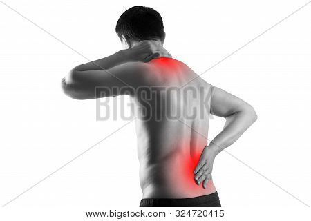 Pain In The Male Body, Man With Back Ache, Sciatica And Scoliosis Isolated On White Background, Chir