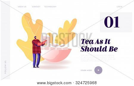 Man Serving Table For Guests Coming Website Landing Page. Happy Male Character Holding Cube Of Refin