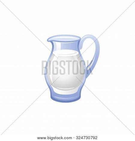 Vector Illustration Eps10, Isolated On White Background. Realistic Food And Drink Symbol, 3d Milk Ju