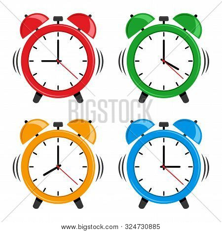 Set Of Colorful Alarm Clock. Vector Illustration