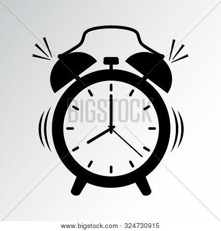Black Alarm Clock Icon Isolated On White Background. Vector Illustration