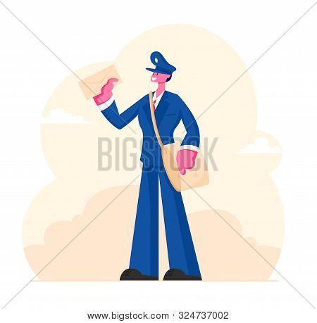 Cheerful Postman Character Wearing Uniform And Cap With Bag On Shoulder Holding Letter In Hand. Post