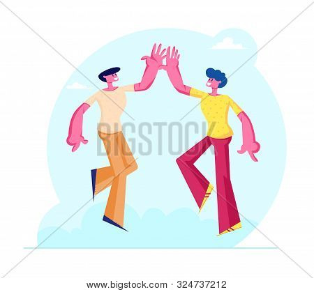 Couple Of Male Friends Characters Take High Five To Each Other As Symbol Of Friendship And Solidarit
