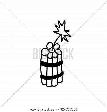 Informative Banner Sketch Dynamite Hand-drawn. Burning Cord Dynamite. High Explosive Mixture Based O