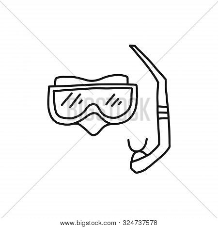 Informative Banner Sketch Hand-drawn Diving Mask. Durable Plastic Mask And Snorkel For Diving And De