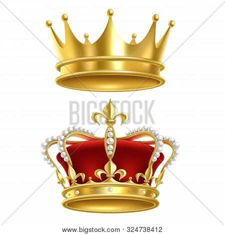 Real Royal Crown. Imperial Gold Luxury Monarchy Medieval Crowns For Heraldic Sign Isolated Realistic