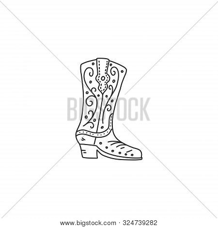 Bright Poster Quick Sketch Cowboy Boot Hand-drawn. Shoes With Beautiful Ornament Pattern. Product Is