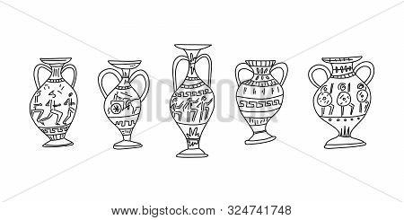 Advertising Poster Hand-drawn Set Grecian Amphora. Ancient Vases Greek Culture. Various Images Drawn