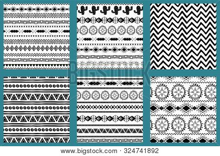 Native American Style Abstract Aztec Design Aztec Pattern Black And White Set Mexican Texture Vector