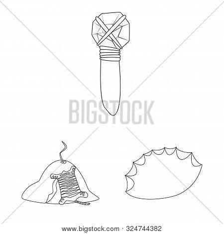 Vector Illustration Of Primitive And Archeology Sign. Set Of Primitive And History Stock Vector Illu